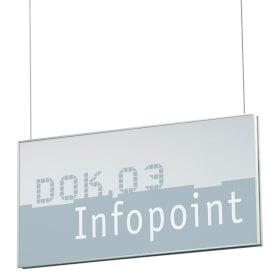 NEW AGE Deckenabhängung mit Stahlseil u. 2 Schildern 30,0 x 15,0 cm