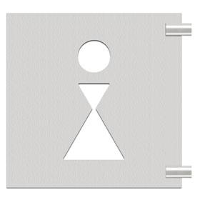 schilder aus edelstahl fahnenschild symbol 39 dame 39. Black Bedroom Furniture Sets. Home Design Ideas
