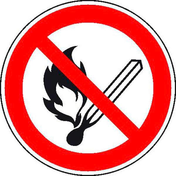 verbotsschild keine offene flamme feuer offene z ndquelle und rauchen verboten. Black Bedroom Furniture Sets. Home Design Ideas