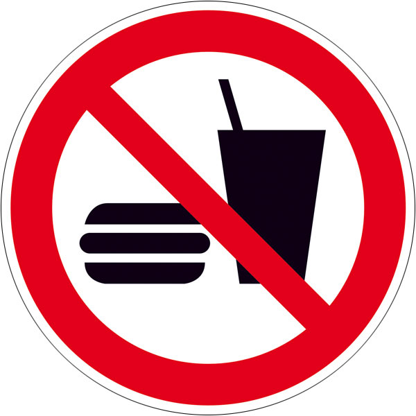 Verbotsschild - Essen und Trinken verboten