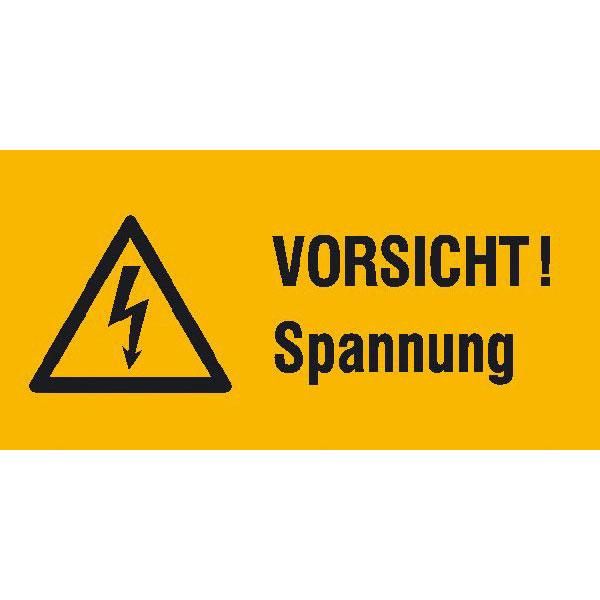 Kombischild mit Warnzeichen auf Bogen Vorsicht Spannung