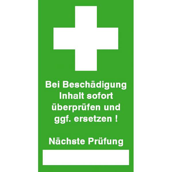Prüfsiegel - Erste Hilfe - auf Bogen Text: Bei Beschädigung Inhalt ...