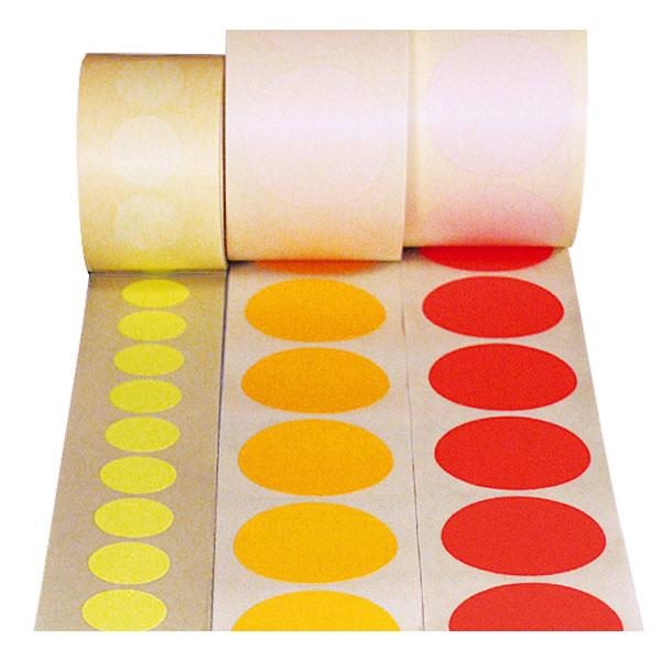 beschriftbare etiketten auf rolle form rund verschiedene farben. Black Bedroom Furniture Sets. Home Design Ideas