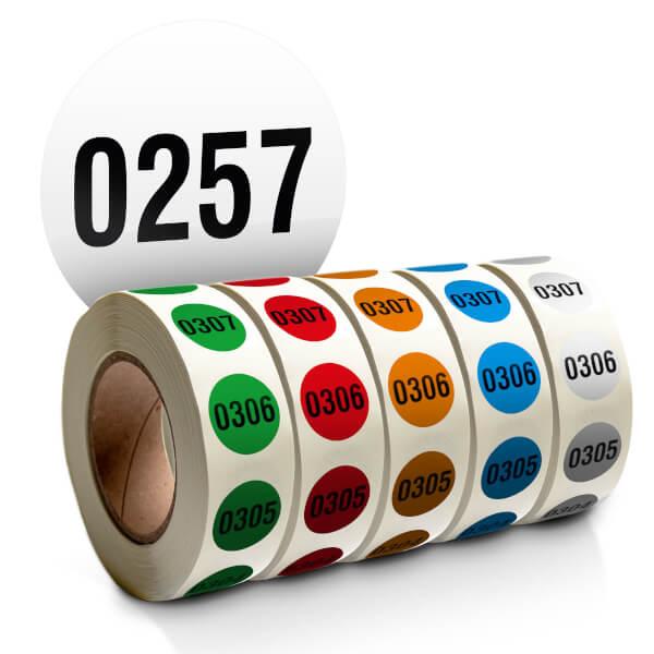 nummerierte etiketten auf rolle form rund verschiedene farben fortlaufend nummeriert 1 1000. Black Bedroom Furniture Sets. Home Design Ideas