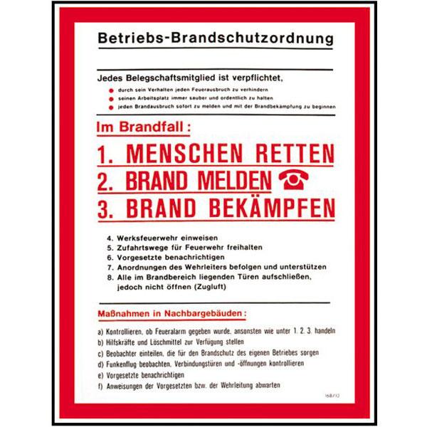 aushang betriebs brandschutzordnung - Brandschutzordnung Muster