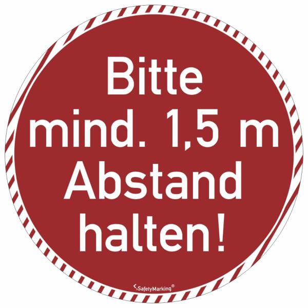 1,5m Bodenmarkierung mit AntirutschbelagStreifen 64cmBitte Abstand halten