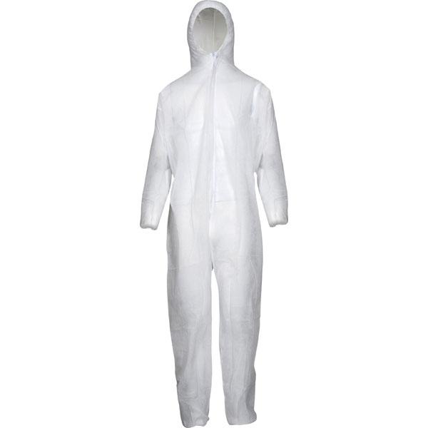 0ec810efc26a98 Schmutzanzug Overall weiß Gummizug an Kapuze sowie Arm- und Beinabschlüssen