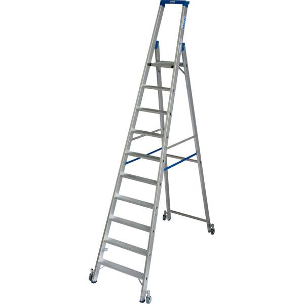 leitern stufen stehleitern krause stufen stehleiter fahrbar alu arbeitsh he 4 35 m. Black Bedroom Furniture Sets. Home Design Ideas