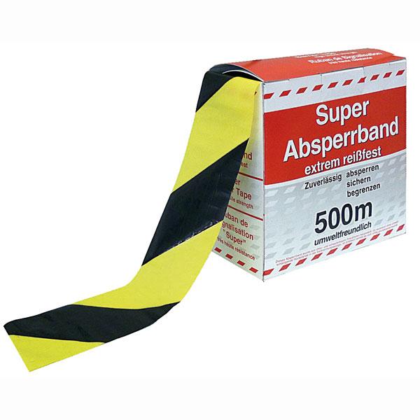 Extrem Absperrband gelb/schwarz schraffiert Flatterband in Spenderbox mit SN18