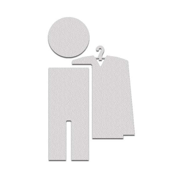 Piktogramme aus edelstahl symbol 39 garderobe 39 selbstklebend for Garderobe aus edelstahl